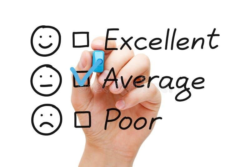 平均顾客服务评价表 库存照片