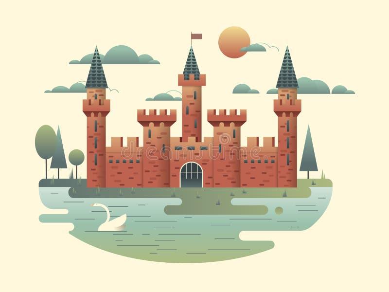 平城堡的设计 向量例证