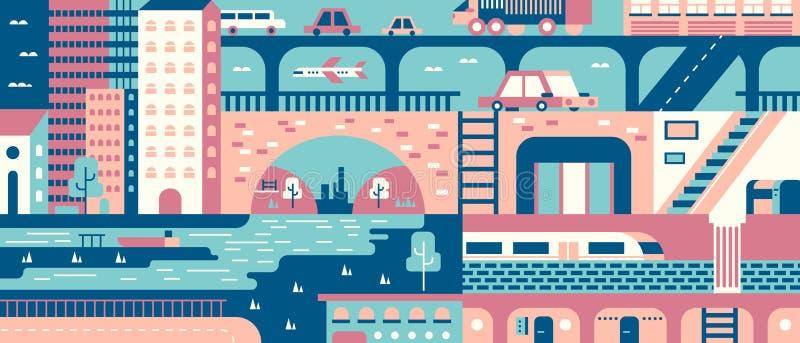 平城市抽象的背景 向量例证