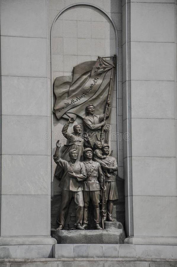 平壤,北朝鲜,09/08/2018:共产主义样式战争纪念建筑形式反日战争 库存照片