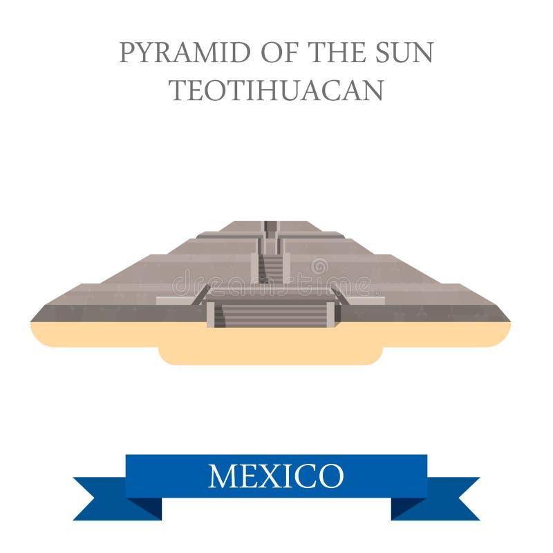 平太阳阿兹台克玛雅人特奥蒂瓦坎墨西哥的传染媒介的金字塔 库存例证