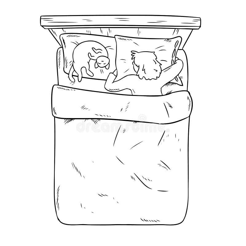 平安地睡觉在她的与她的猫的床上的妇女 顶视图 动画片样式现代传染媒介例证 皇族释放例证