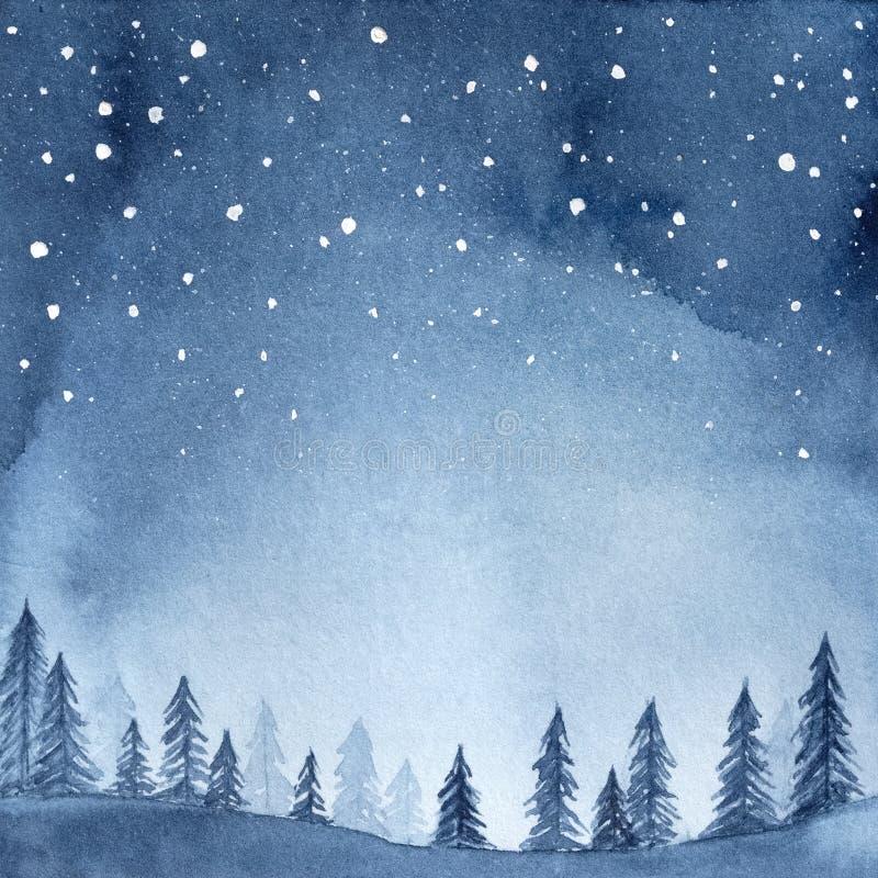 平安的云杉的森林的水彩例证在充分夜空下星 库存例证