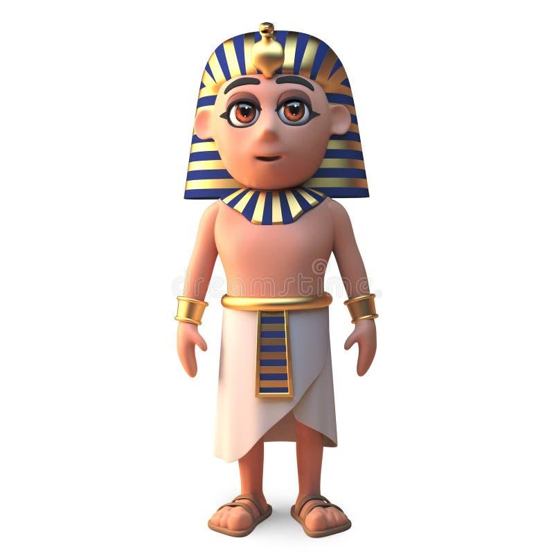 平安的埃及法老王图坦卡蒙站立笔直,3d例证 库存例证