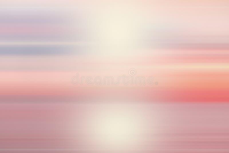 平安的抽象迷离美丽的紫色海洋有桃红色天空太阳背景 库存图片