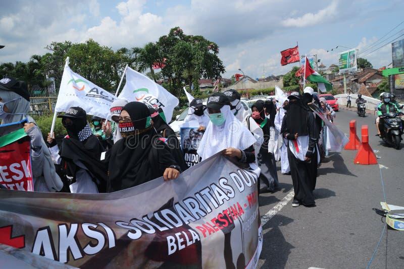 平安的组织在日惹保卫巴勒斯坦 库存图片