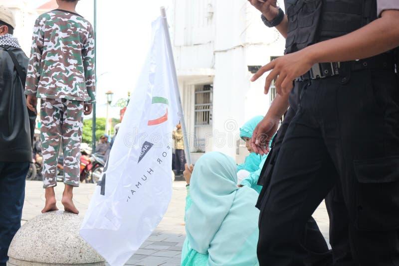 平安的组织在日惹,印度尼西亚保卫巴勒斯坦 免版税图库摄影