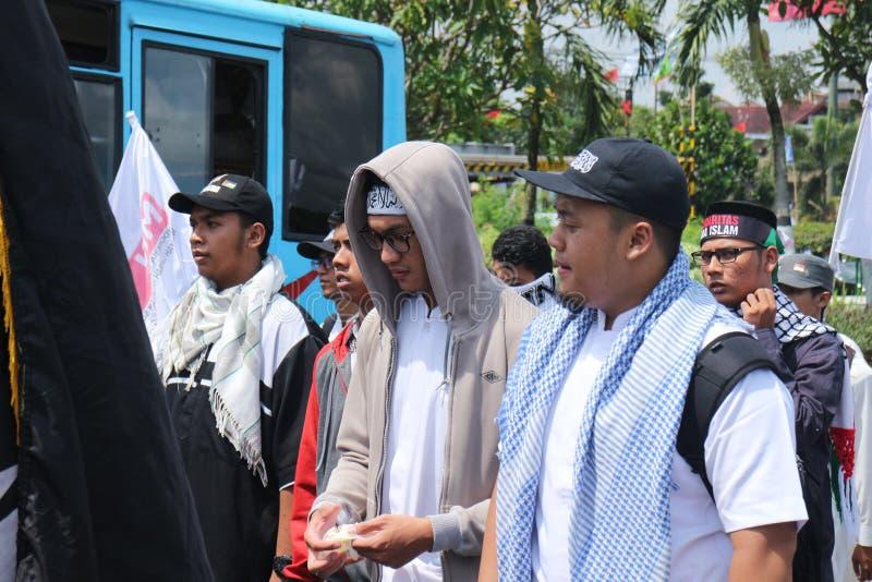 平安的组织在日惹,印度尼西亚保卫巴勒斯坦 库存照片
