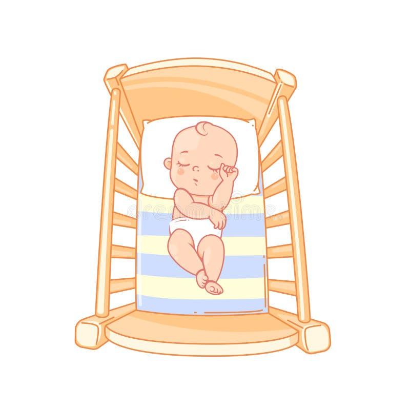 平安逗人喜爱的一点婴孩睡眠在床上 库存例证