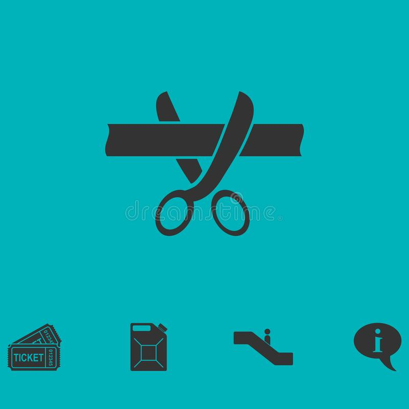 平展削减丝带象的剪刀 库存例证
