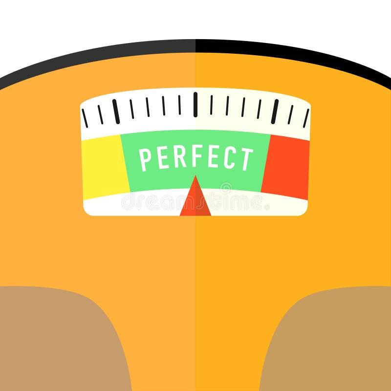 平展卫生间地板重量标度仔细的审视 向量例证