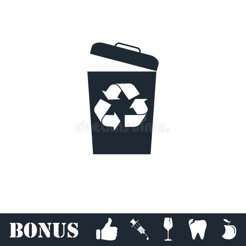 平展垃圾桶象 向量例证