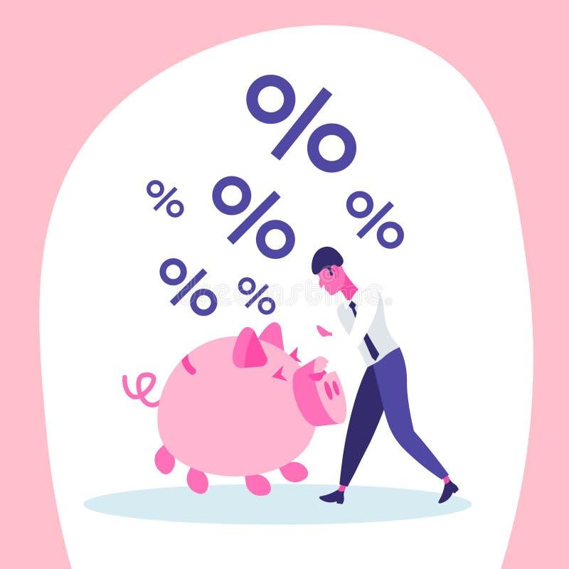 平展得到百分之成长财富收入概念的商人金钱投资存钱罐 库存例证
