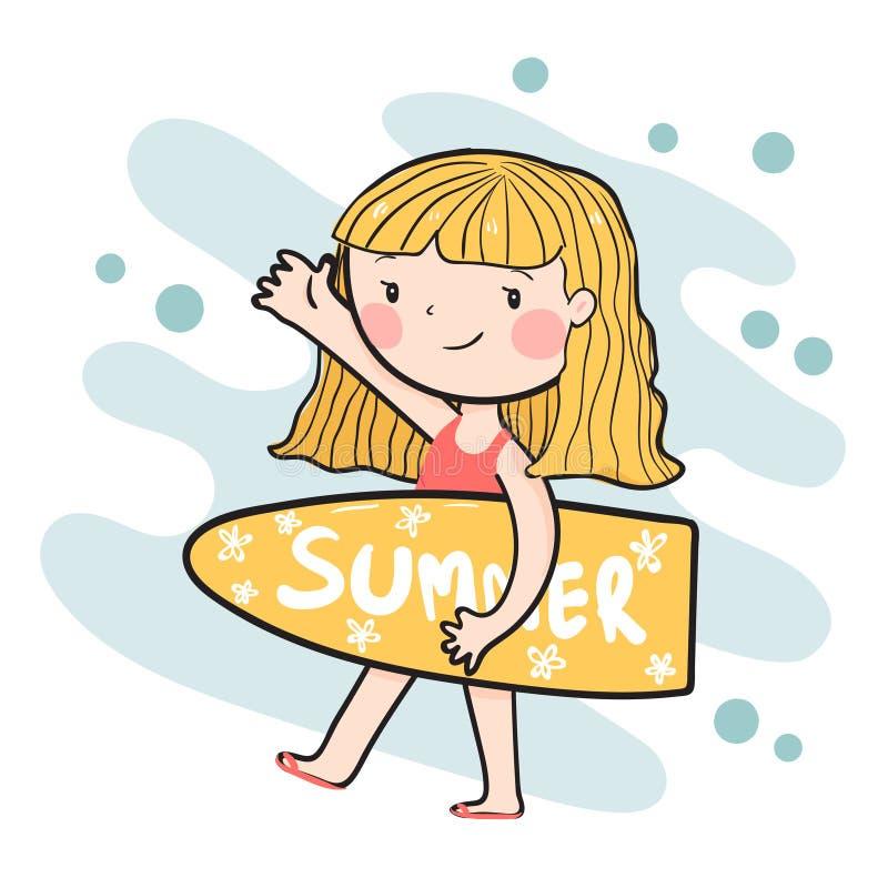 平展拿着夏天冲浪板的逗人喜爱的愉快的冲浪者女孩 皇族释放例证