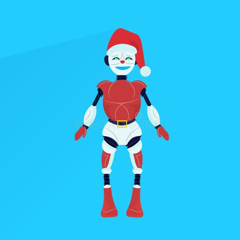 平展摆在圣诞快乐新年快乐假日概念的圣诞老人项目机器人 皇族释放例证