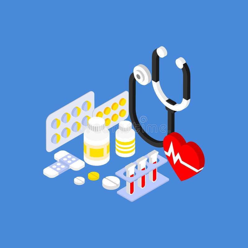 平展等量医疗仪器和的药片 库存例证
