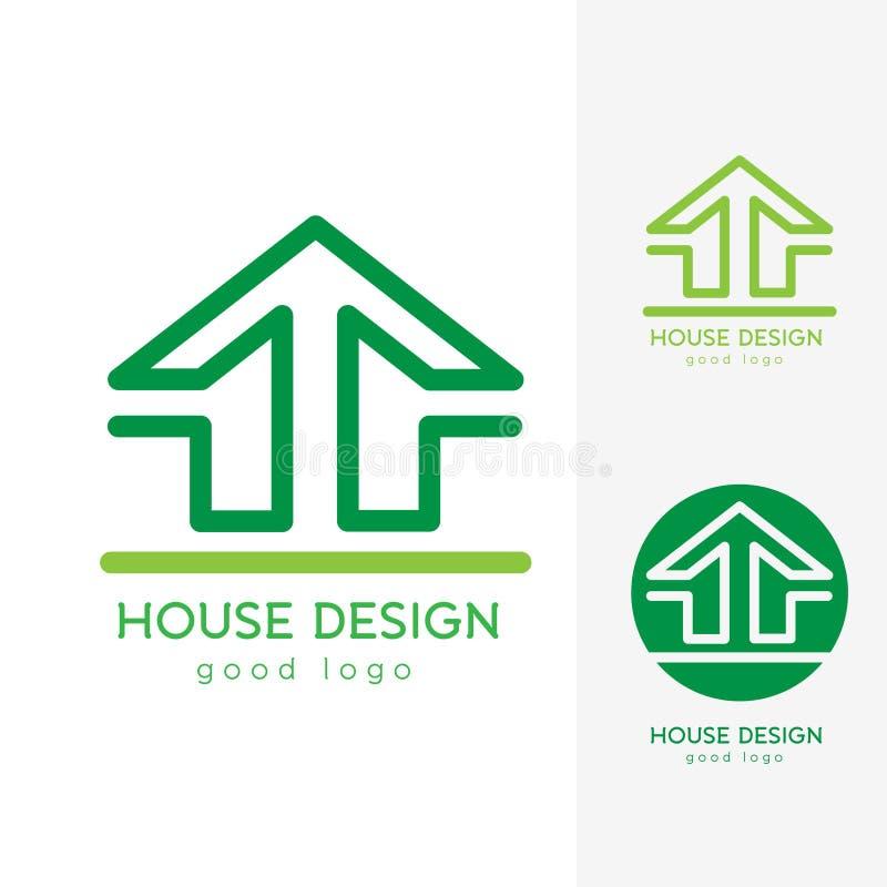 平展简单现代议院商标设计的模板 免版税库存照片