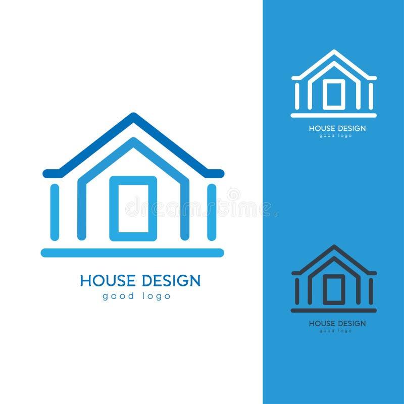 平展简单现代议院商标设计的模板 免版税库存图片
