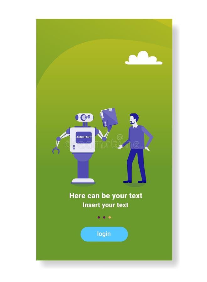 平展给商人文件文件夹人工智能机制技术的现代机器人辅助概念 皇族释放例证