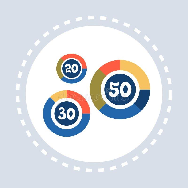 平展被隔绝的圆形统计图表图百分之数字财政报告介绍概念 皇族释放例证