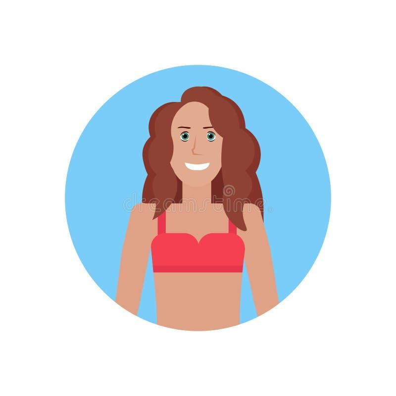 平展被隔绝的泳装暑假概念女性卡通人物画象的年轻比基尼泳装妇女面孔具体化女孩 皇族释放例证