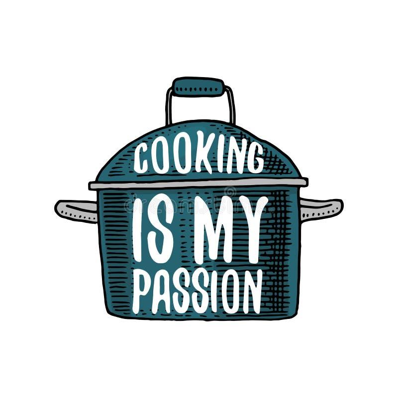 平底深锅或器物,菜单装饰的材料 烘烤商标象征或标签,被刻记手拉在老剪影或和 皇族释放例证