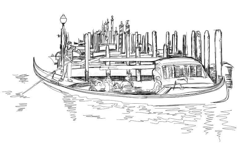 平底船的船夫在有游人的一艘长平底船漂浮 皇族释放例证