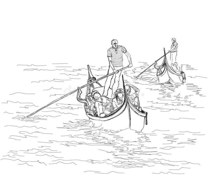 平底船的船夫在漂浮长平底船 库存例证