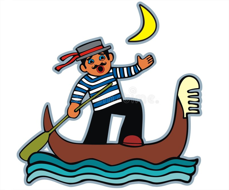 平底船的船夫月光唱歌 向量例证