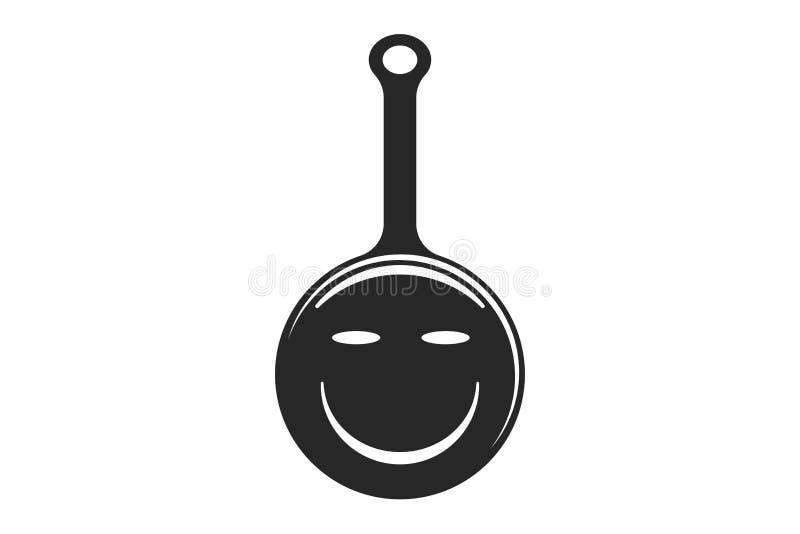 平底锅微笑,烹调商标设计在白色背景隔绝的启发 库存例证