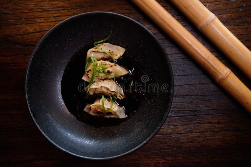 平底锅油煎的gyoza 免版税库存照片