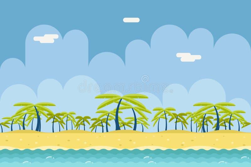 平无缝的晴朗的海滩海洋海自然的概念 库存例证