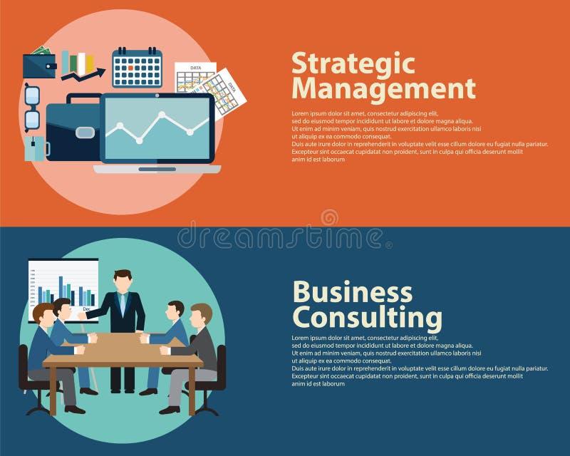 平样式企业成功战略管理概念和商务咨询 网被设置的横幅模板 库存例证