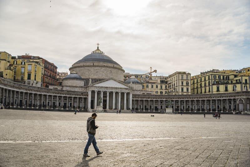 平民表决广场,那不勒斯,意大利看法  免版税库存照片