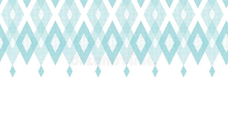 水平淡色蓝色织品ikat的金刚石 向量例证