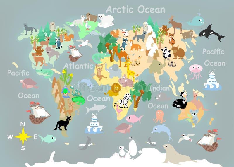 平的世界动物卡通效果孩子地图 库存例证