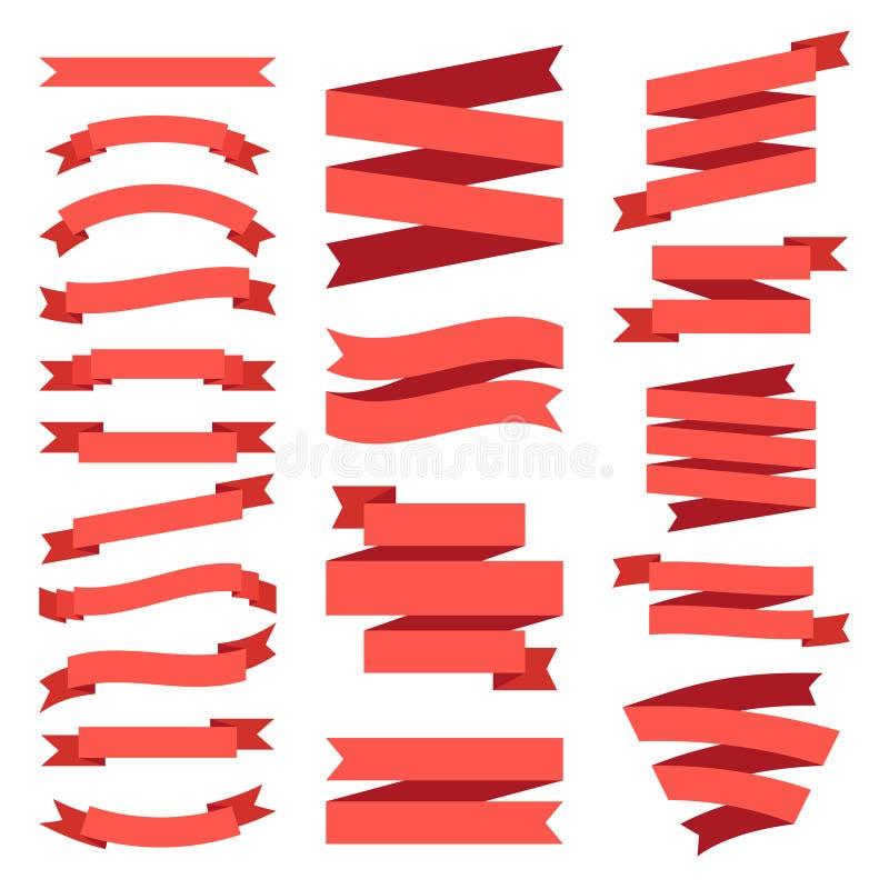平的丝带横幅 葡萄酒纸标记标签 横幅传染媒介集合的老图表丝带 库存例证