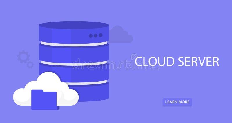 平的云彩计算的背景 数据存储网络技术 多媒体内容和网站主持 向量例证