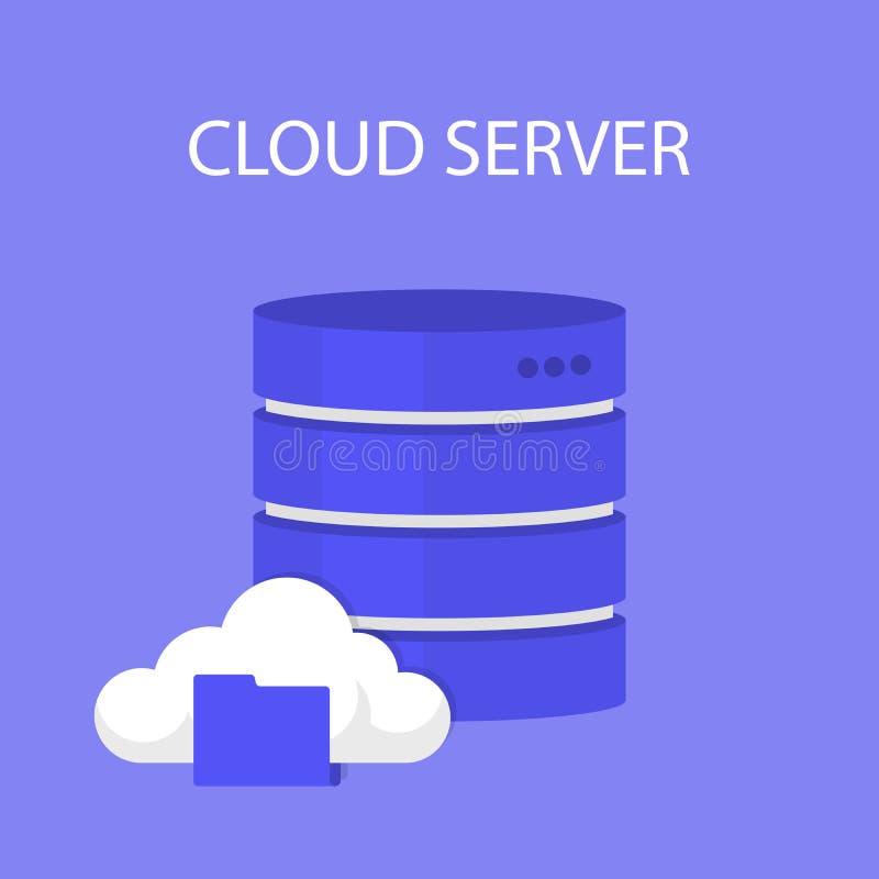 平的云彩计算的背景 数据存储网络技术 多媒体内容和网站主持 皇族释放例证