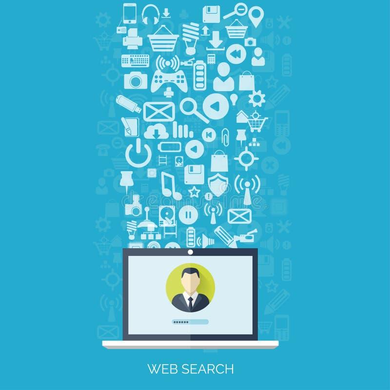 平的云彩计算的背景 数据存储网络技术 多媒体内容和网站主持 库存例证