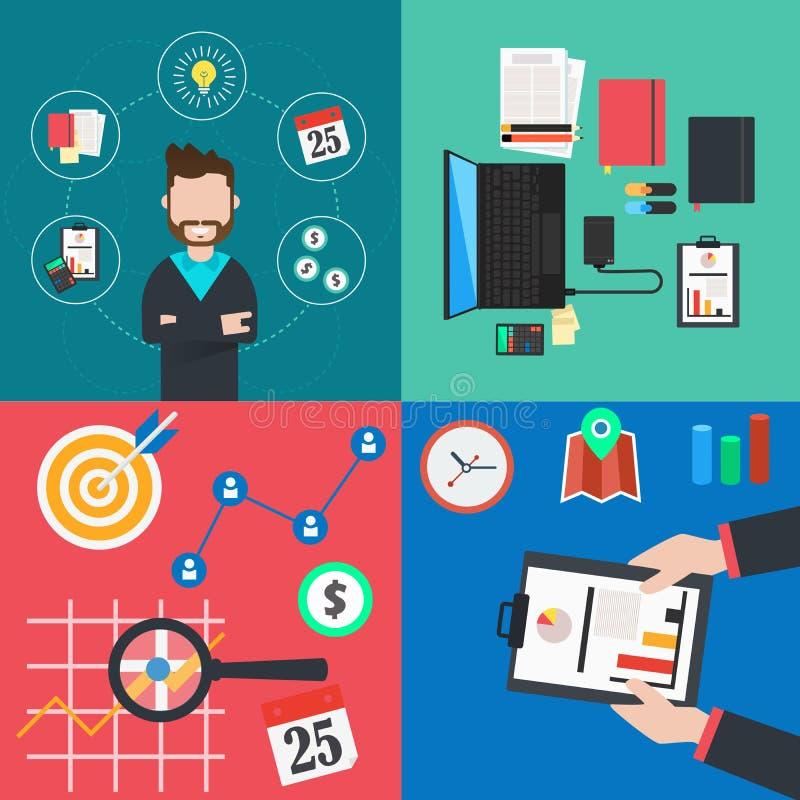 平的五颜六色的事务和财务的汇集 向量例证