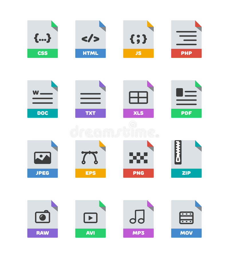 平的五颜六色的传染媒介文件格式象在白色设置了 向量例证