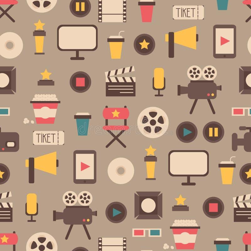 平的五颜六色的电影设计的无缝的样式 向量例证
