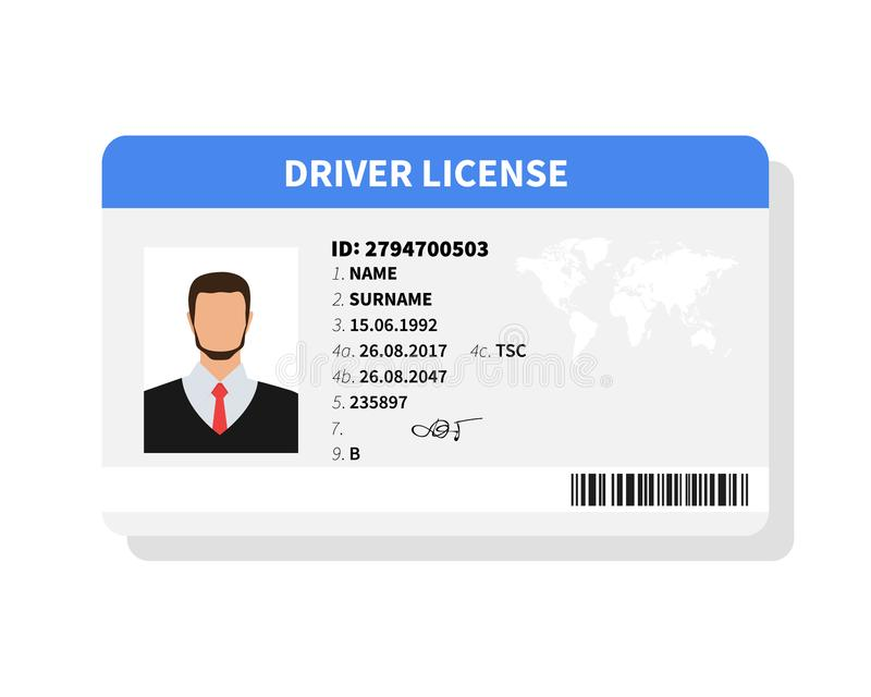平的人驾驶执照塑料卡片模板,身份证传染媒介例证 库存例证