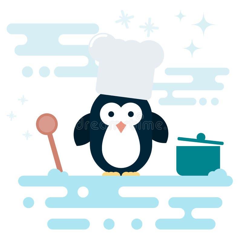 平的企鹅字符传统化了作为厨师有木匙子的和有罐的 向量例证