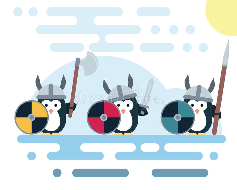 平的企鹅字符传统化了作为有武器的北欧海盗战士 皇族释放例证