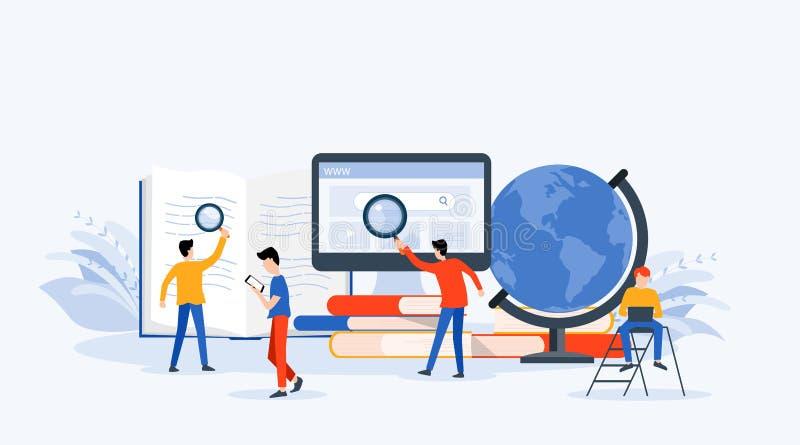 平的传染媒介例证技术经营研究,学会和网上教育概念 库存例证