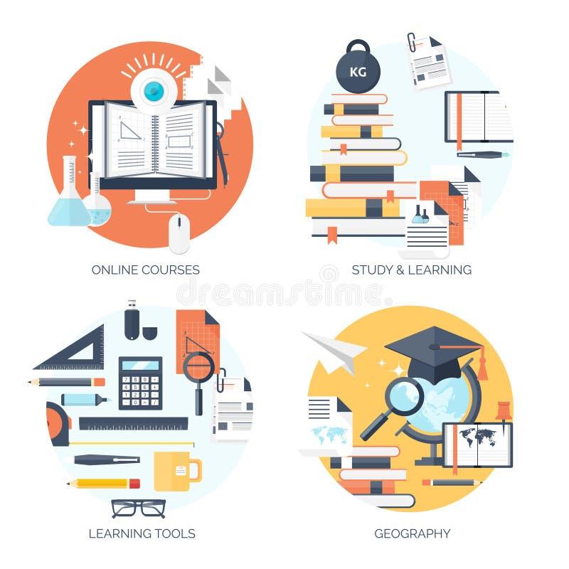 平的传染媒介例证 研究,学会概念背景 远程教育和网上课程,突发的灵感 向量例证