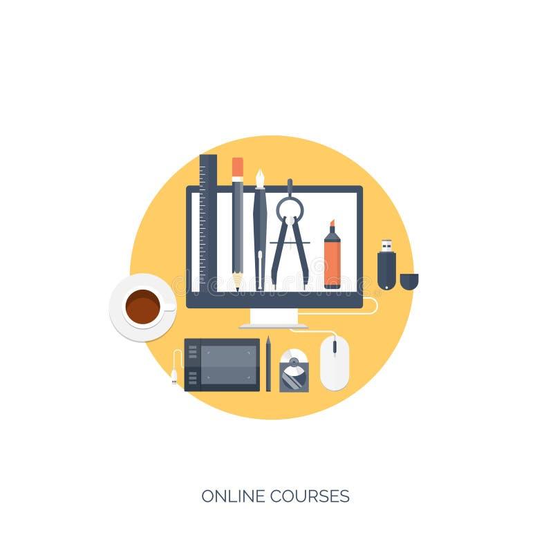 平的传染媒介例证 研究,学会概念背景 远程教育和网上课程,突发的灵感 库存例证