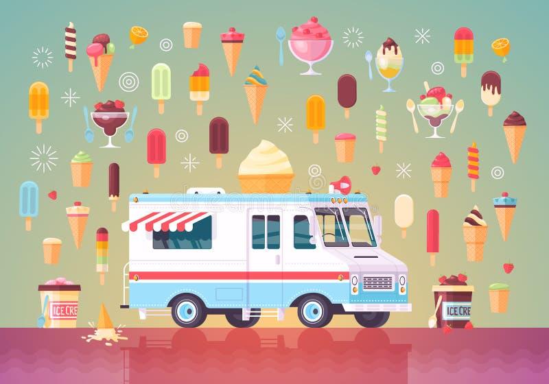 平的传染媒介冰淇凌象和冰淇凌卡车 五颜六色的优质概念例证 库存例证